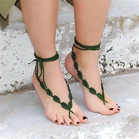 Handmade Anklets - cmn236 new trendy handmade green crochet anklets for