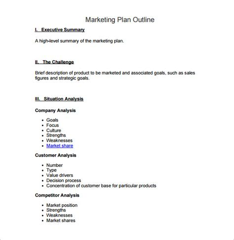 Marketing Plan Outline by Marketing Plan Outline Template 6 Free Word Excel Pdf Format Free Premium