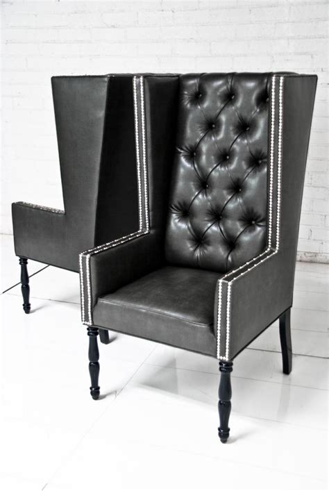wwwroomservicestorecom ultra tall mod wing dining chair  faux black leather