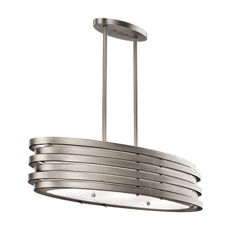 White Island Light Shop Kichler Roswell 37 25 In W 3 Light Brushed Nickel Kitchen Island Light With White Shade At