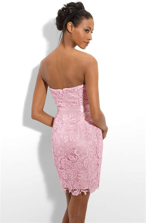 strapless lace sheath dress papell strapless lace sheath dress in pink blush