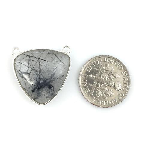bezel gemstone connector pendant black rutilated quartz
