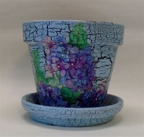 decoupage pots handmade decoupage terra cotta clay pot vintage hydrangea