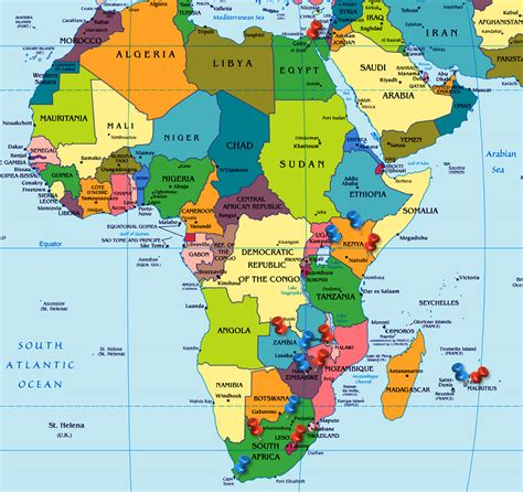 africa map labeled political map of africa continent showing all the