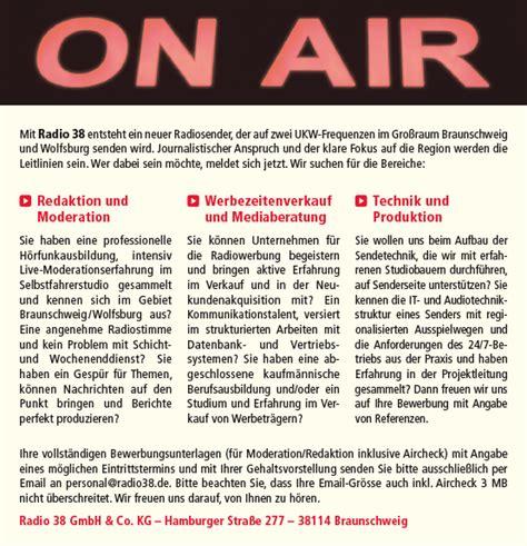 Gehaltsvorstellung Bewerbung 12 Oder 13 Gehalter radio 38 sucht mitarbeiter f 252 r bereiche redaktion