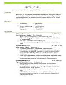 Show Me Sle Resume by Call Center Customer Service Representative Resume Ilivearticles Info