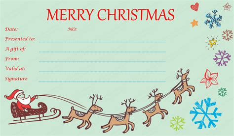 flying reindeer christmas gift certificate template