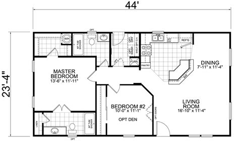 house trailer floor plans home 24 x 44 2 bed 2 bath 1026 sq ft
