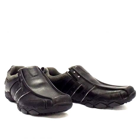 skechers heisman casual black leathers mens shoe mozimo
