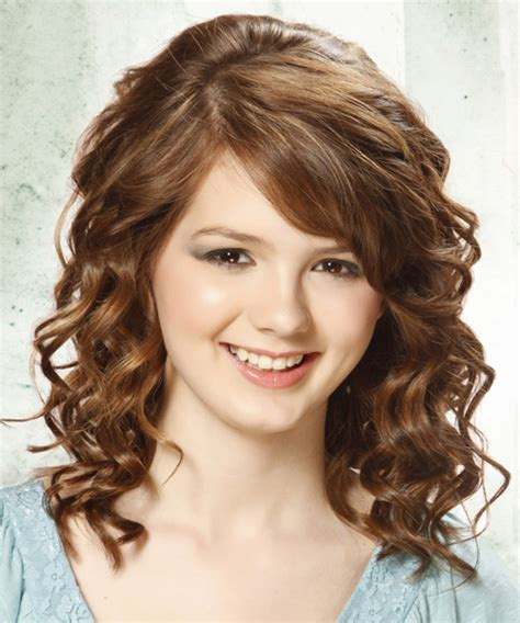 prom hair salon haircuts medium curly formal hairstyle with side swept bangs