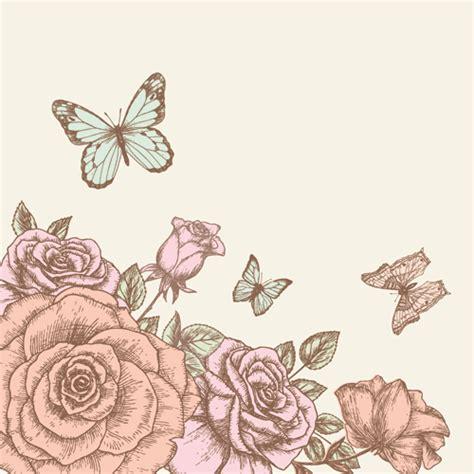 wallpaper flower draw retro hand drawn flowers background design 02 over