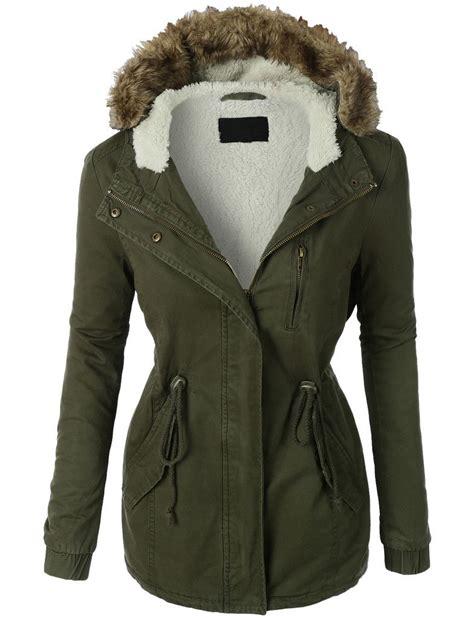 Jaket Parka Hoodie Black womens sherpa lined anorak parka jacket with hoodie