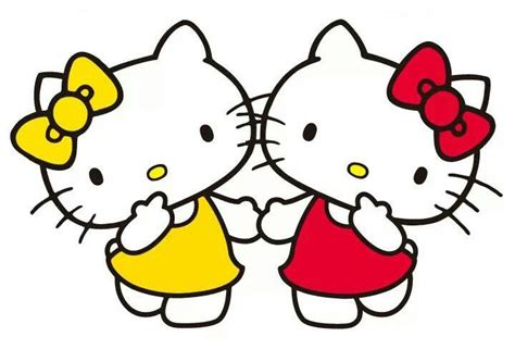 imagenes de kitty y su hermana hello kitty red and her twin sister mimmy yellow