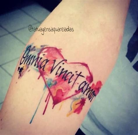 tattoo aquarela omnia vincit amor tattoo ideas