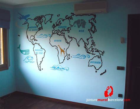 mapamundi habitacion infantil  pintura mural