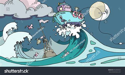 cartoon boat waves fisherman in a boat on a big wave cartoon stock vector