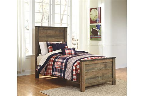 Rustic Wood Bed Frames Canada Trinell Twin Panel Bed Ashley Furniture Homestore