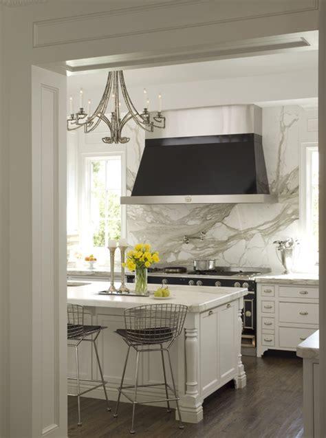 marble backsplash kitchen french range hood transitional kitchen elle decor