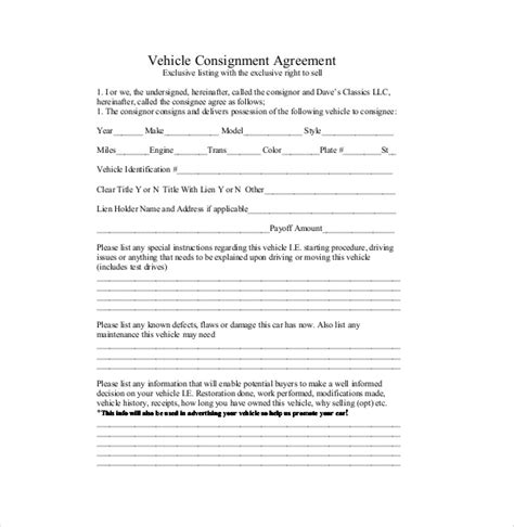consignment shop contract template consignment agreement template 12 free word pdf