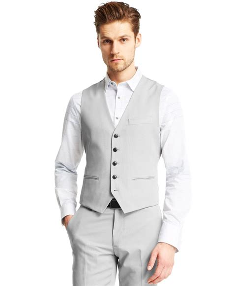 light grey vest and lyst kenneth cole reaction light grey wool vest in gray