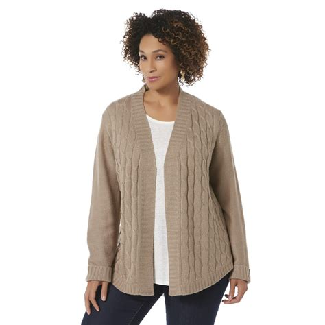 Cable Knit Open Front Cardigan basic editions s plus cable knit open front cardigan