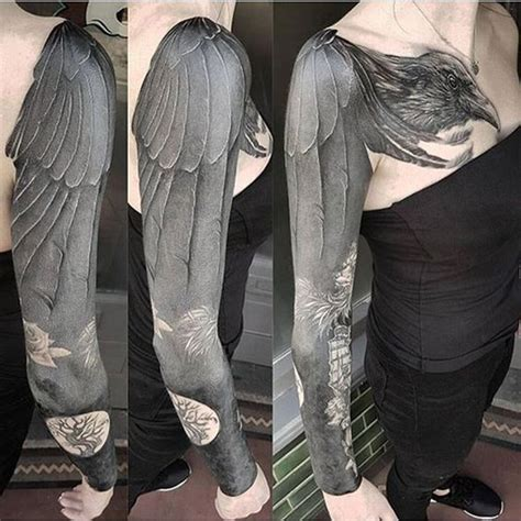 raven sleeve tattoo designs mystic styles best tattoos for 2018 ideas