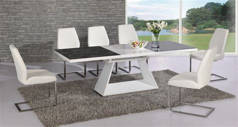 White High Gloss Extending Black Glass Dining Table And 8 White Dining Table And Chairs Uk