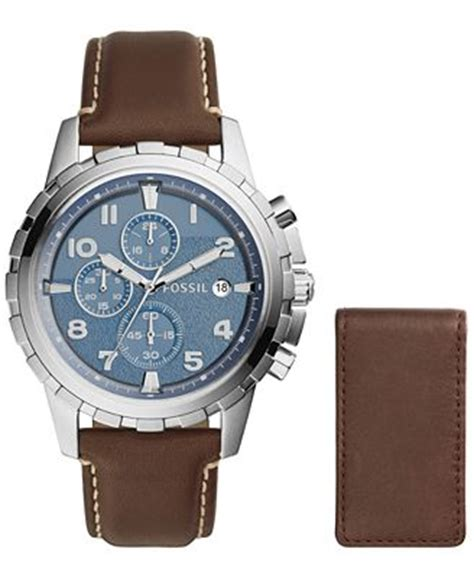 fossil s chronograph dean brown leather