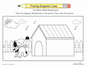 diagonal line pattern generator complete the dog house trace the diagonal lines