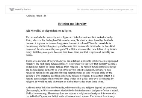 Religion And Morality Essay by Religion And Morality A Level Religious Studies Philosophy Marked By Teachers