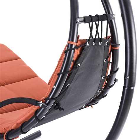 hanging lounger swing hanging steel chaise lounger chair arc stand swing hammock