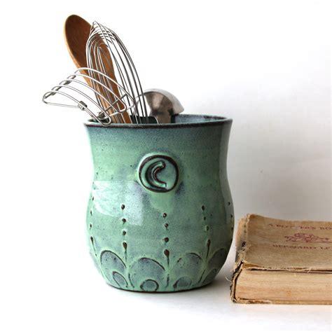kitchen utensil holder monogram kitchen utensil holder aqua mist large size