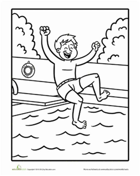 coloring page boy swimming swimming worksheet education com