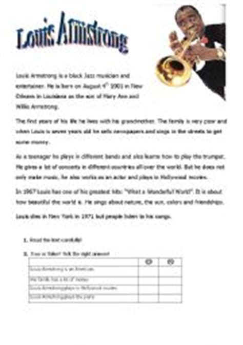 louis armstrong biography for students louis armstrong worksheet