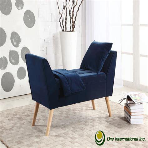 navy blue mid century storage bench  pillow