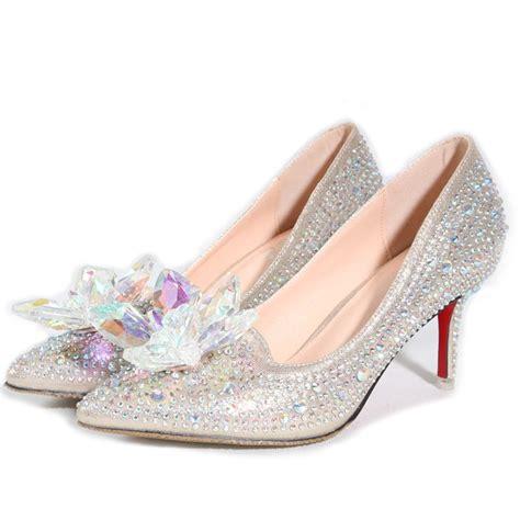 cinderella high heel shoes new silver gold rhinestones wedding shoes high