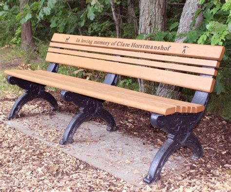 engraved benches cambridge memorial park bench 6 foot without arm rest