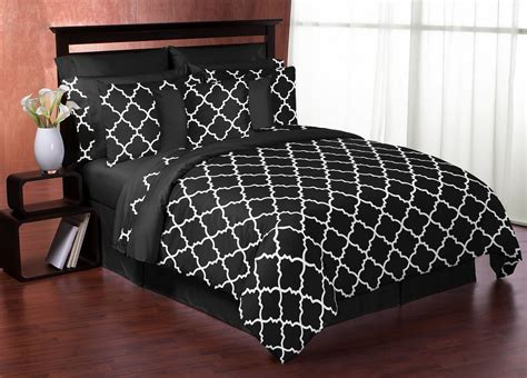 black and white king comforter set sweet jojo designs black and white trellis collection 3pc