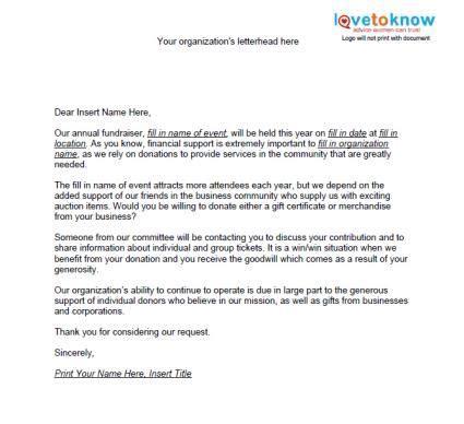 charity auction letter auction item request letter fundraising help