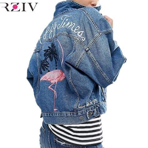 Jaket Wanita Jaket Flaminggo Flamingo Jaket Terbaru rziv 2017 jean jacket casual pocket decorated denim jacket clothing