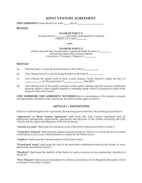 free sle joint venture agreement template international joint venture agreement template 28 images