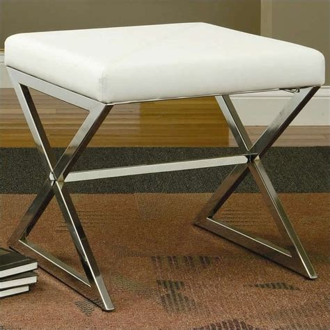 leather and metal ottoman coaster faux leather ottoman with metal base in white 501063