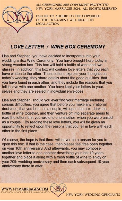 wedding ceremony justice of the peace script wine box letter ceremony sle wedding ceremonies