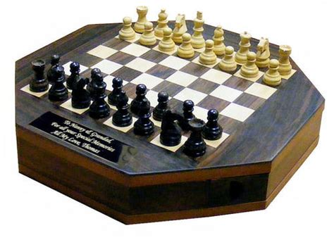 octagon rosewood chess set personalised county engraving