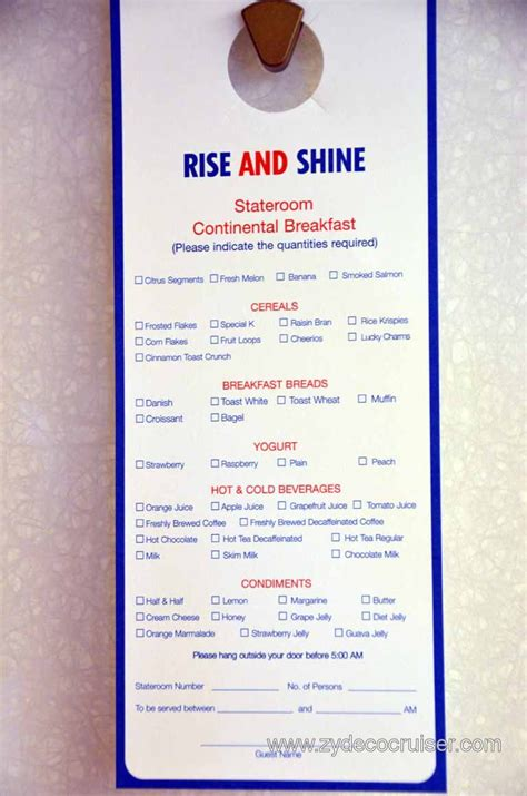 carnival cruise room service room service and menus cruise critic message board forums