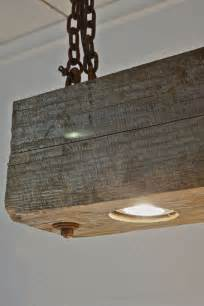 hanging barn lights rustic modern hanging reclaimed wood beam light by