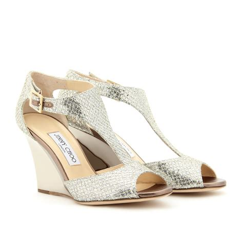 jimmy choo token glitter wedge sandals in metallic lyst