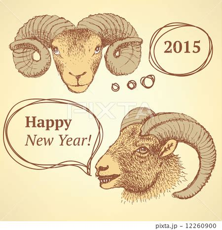 new year ram images sketch new year ram in vintage styleのイラスト素材 12260900 pixta