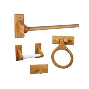 design house dalton 4 bathroom accessory kit in honey oak 561258 the home depot