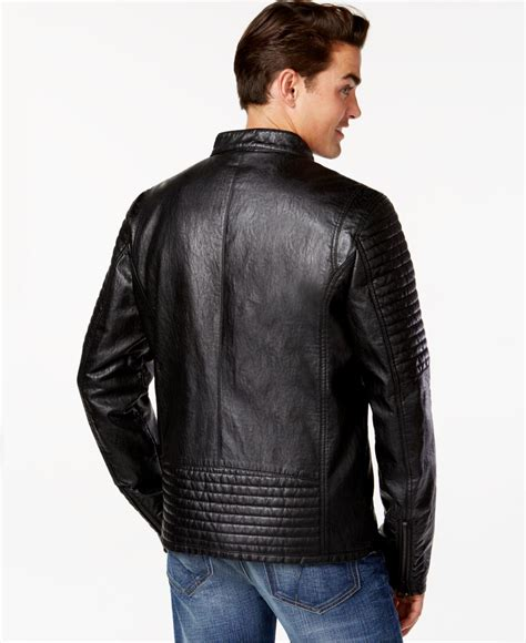 Guess Sprint Black Leather guess faux leather quilted moto jacket in black for lyst